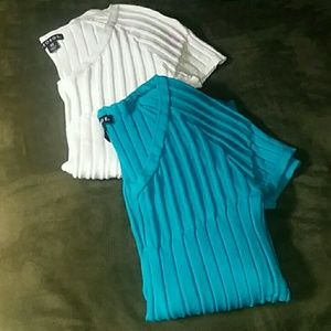 George Tops - GEORGE short sleeve shirts, white & teal/turquoise